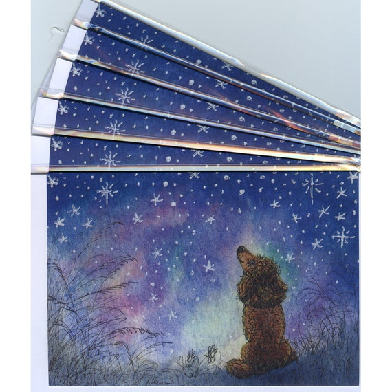 6 X Poodle Dog Holiday Greeting Cards Starry Night Etsy