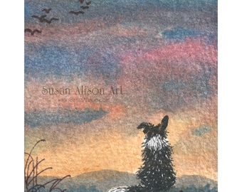 Border Collie dog 5x7 8x10 11x14 art print sheepdog landscape hills mountains admiring view evening sunset Susan Alison watercolor painting