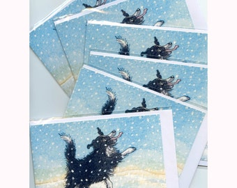 6 x Border Collie dog Christmas cards - catching snowflakes on his tongue