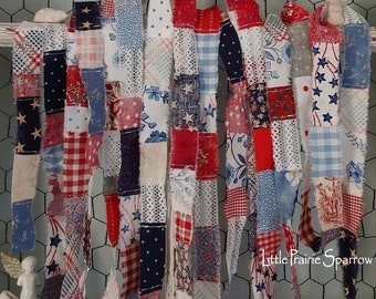 Red White & Blue Patchwork Hand Torn Fabric Ribbon for Journal, 4th of July Party, USA American Patriotic Decor, Stars and Stripes Accent