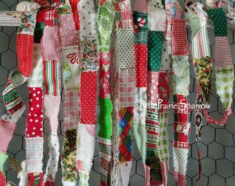 Red & Green Christmas Patchwork Hand Torn Fabric Ribbon for Journal, Gift Bows, Holiday Party Ribbon, Tree Garland, Wreath Bow, Table Decor