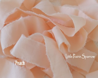 Hand Torn Peach Fabric Ribbon, Frayed Pastel Fabric, Scrapbook, Journal, Baby Shower Party Bow, Doll Making, Sewing Craft, Fabric Bracelet