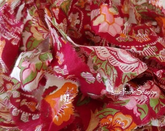 Hand Torn Cranberry Floral Print Fabric Ribbon, Frayed Wine Colored Flower Fabric, Journal, Scrapbook, Doll Making, Gift Bows, Sewing Crafts