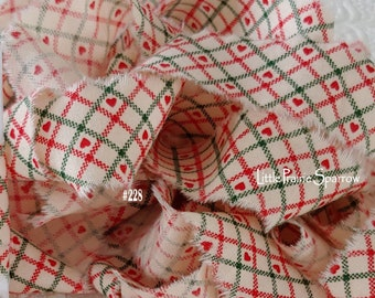 Hand Torn Christmas Red & Green Checked Print Frayed Fabric Ribbon for Journal, Sewing, Holiday Gift Bows, Wreath Accent Bow, Tree Garland