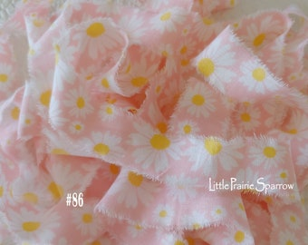 Hand Torn Pink Daisy Fabric Ribbon, Frayed Yellow Floral Fabric, Journal, Garden Scrapbook, Baby Shower Accent, Gift Bows, Doll Making