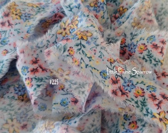 Hand Torn Blue & Pink Floral Frayed Fabric Ribbon for Journal Scrapbook, Sewing, Wedding, Baby Shower Gift Bows, Jewelry Making, Shabby Chic