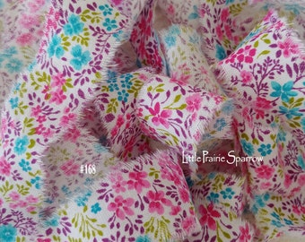 Hand Torn Pink & Blue Floral Frayed Fabric Ribbon for Scrapbook, Journal, Baby Shower Party Gift Bows, Jewelry Making, Sewing, Bridal Shower