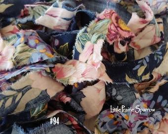 Hand Torn Flower Print Fabric Ribbon, Frayed Navy & Gold Fabric, Shabby Chic, Scrapbook, Journal, Rachel Ashwell Style, Ralph Lauren Style