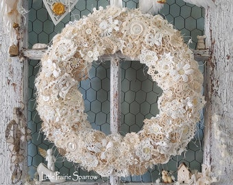 Crochet Doily Wire Wreath for Holiday Accent, Cake Table Centerpiece, Wedding Prop, Shabby Chic, Nursery Decor, Brides Chair, Party Backdrop