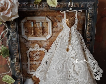 Miniature Vintage Lace Art Dress Decor, Upcycled Fashion Display Art, Shabby Chic Dollhouse Diorama, Romantic Doll House Ornament, Tiny Gown