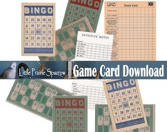 Vintage Game Card Digital Download, Printable Bingo & Lotto Ephemera Cards, Retro Board Game Score Sheets, Junk Journal Supply, Tag Making