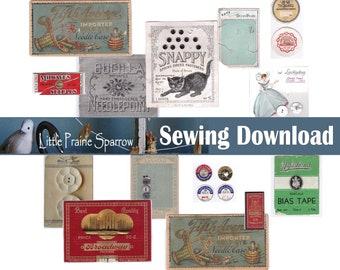 Vintage Sewing Digital Download, Printable Sewing Notion Packaging Ephemera Collage Sheets, Junk Journal, Tags, Scrapbooking, Embellishments