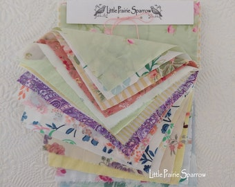 Vintage Floral Print Fabric Bundle, Sewing Sample Kit for Junk Journal, Scrapbook, Slow Stitching, Snippet Roll, Shabby Craft, Doll Making