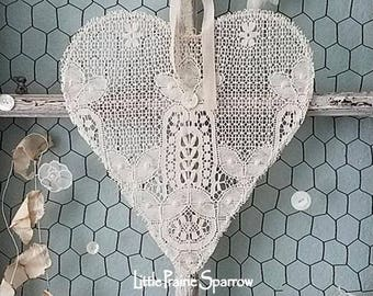 Lace Heart, Wire Heart Wreath, Wedding Sign, Flower Girl, Ring Pillow Alternative, Jewelry Holder, Nursery, Shabby Chic, Holiday Decor