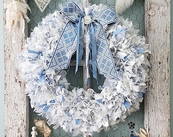 Wreath, Fabric Wreath, Blue Wreath, Rag Wreath, Woodland Wedding, Farmhouse Style, Blue and White, Holiday Wreath, Shabby Chic Nursery