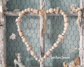 Wooden Bead Heart Wreath, Fleamarket Style, Shabby Chic, Wedding Prop, Bride Chair Sign, Nursery Decor, Holiday Ornament, Farmhouse Accent