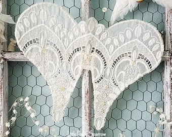 Wings, Lace Wings, Wire Angel Wings, Shabby Chic, Angel Decor, Wedding Decor, Brides Chair, Flower Girl, Sweetheart Table, Nursery Decor