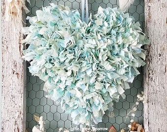 Heart, Wire Heart, Fabric Heart, Blue Heart, Wedding Decor, Sweethearts Table, Holiday Decor, Brides Chair, Shabby Chic Nursery, Rag Heart
