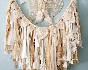 Garland, Banner, Fabric Garland, Rag Garland, Tattered Banner, Lace Garland, Shabby Chic, Wedding Backdrop, Brides Chair Prop, Nursery Decor
