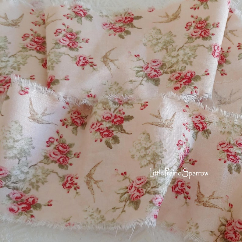 Hand Torn Pink Fabric Ribbon Frayed Rose & Bird Sewing image 0