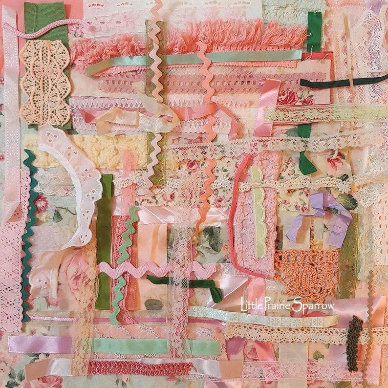 Pink Fabric Lace Trim Bundle 100 Piece Kit Slow Stitching image 0