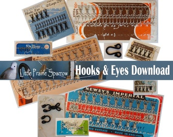 Vintage Hooks & Eyes Digital Download, Printable Sewing Notion Ephemera Collage Sheets, Junk Journal, Tags, Scrapbooking, Embellishments