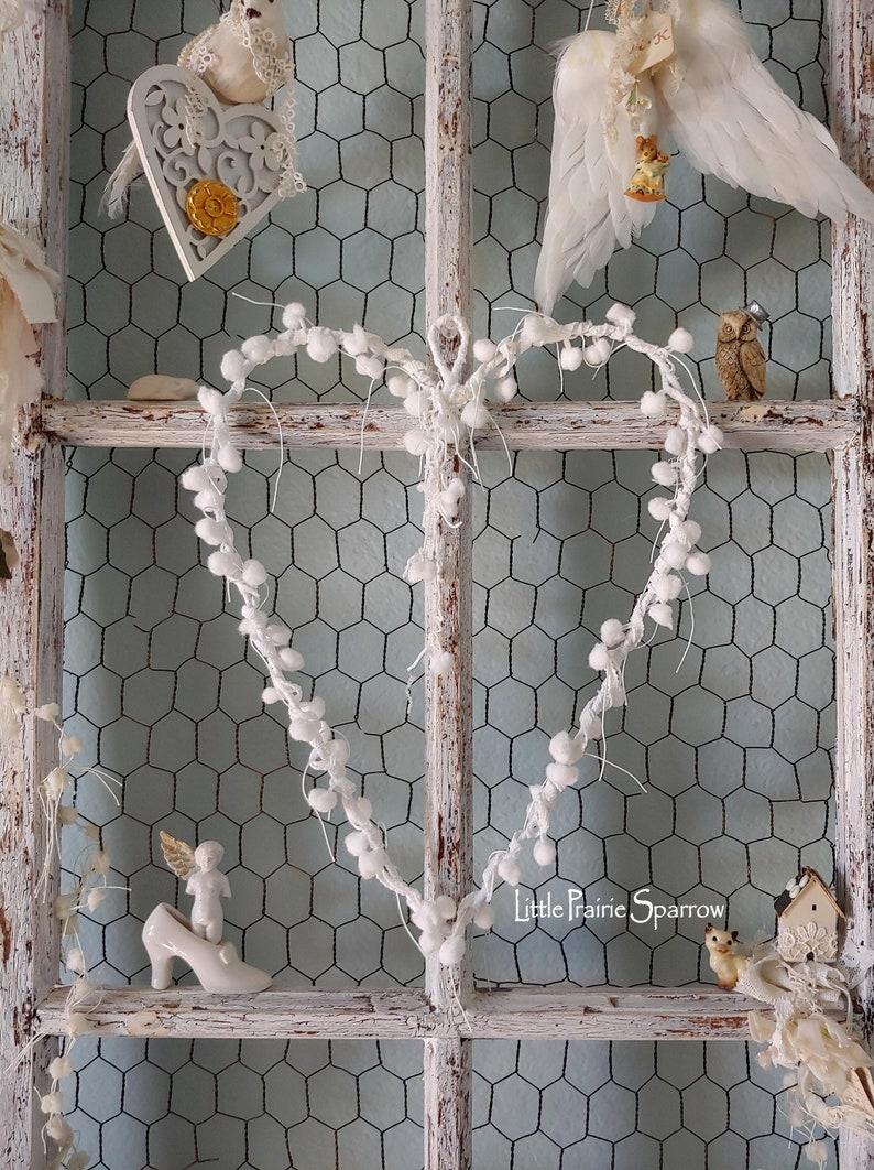 White Pom Pom Wire Heart Wreath Brides Chair Wedding Prop image 0