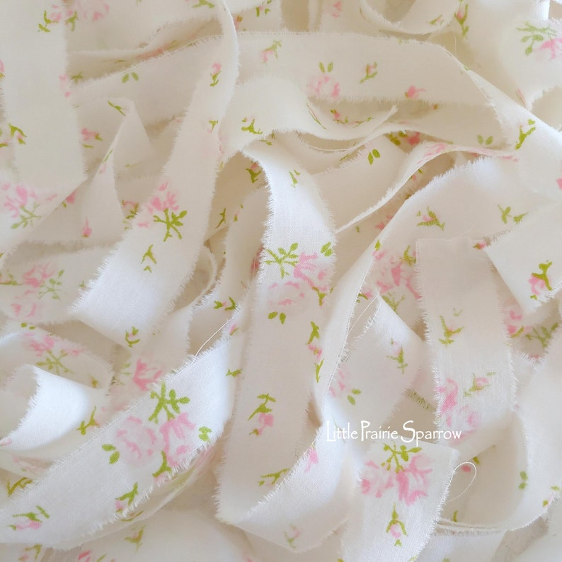 Hand Torn Pink Floral Print Fabric Ribbon Frayed Fabric image 0