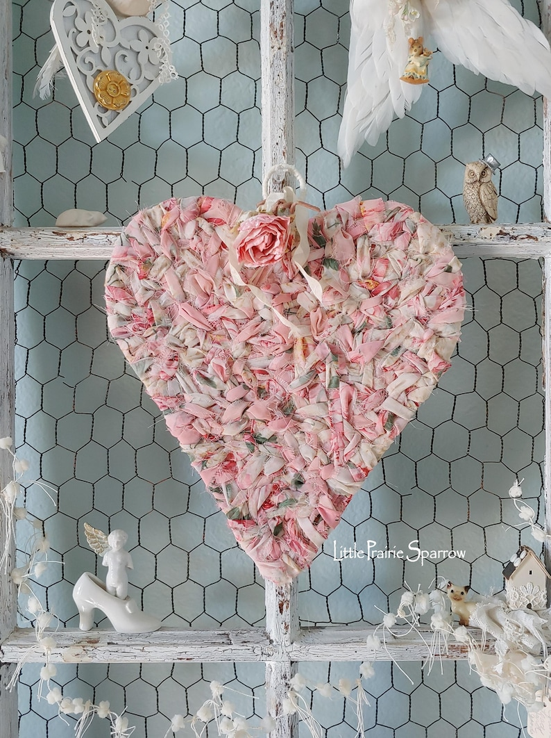Pink Heart Wreath Shabby Chic Wedding Prop Brides Chair image 0