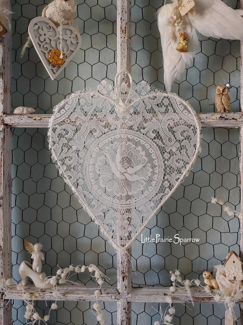 Lace Wire Heart Wedding Prop Brides Chair Nursery Decor image 0
