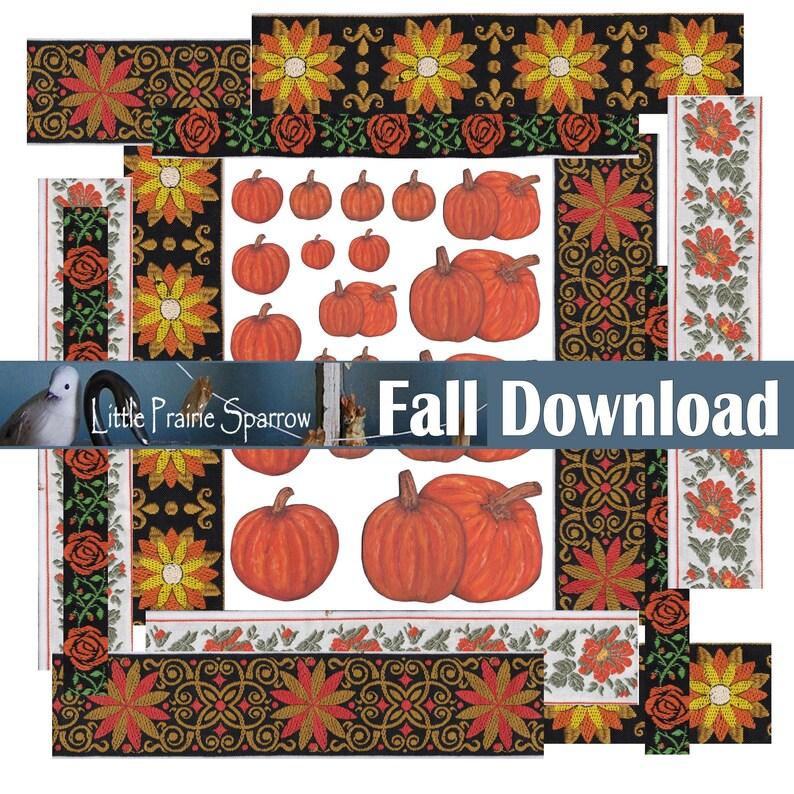 Painted Fall Pumpkin Images and Ribbon Digital Printable image 0