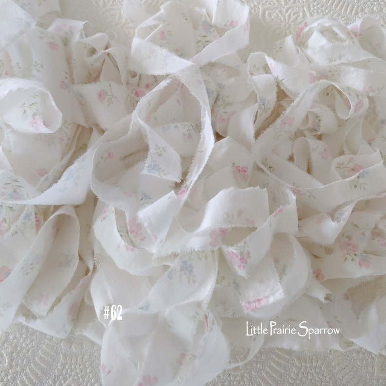 Hand Torn Pink & Blue Floral Print Frayed Fabric Ribbon for image 0