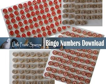 Vintage Bingo Game Numbers Digital Download, Printable Bingo Ephemera Pieces Retro Game Sheets, Junk Journal, Scrapbooking, Embellishments