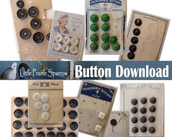 Vintage Button Card Digital Download, Printable Sewing Notion Ephemera Collage Sheets, Junk Journal, Tag Making, Scrapbooking Embellishments