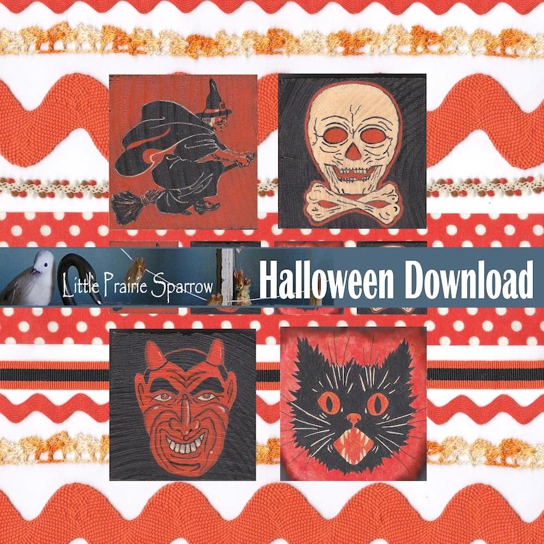 Vintage Style Halloween Images and Ribbon Digital Printable image 0