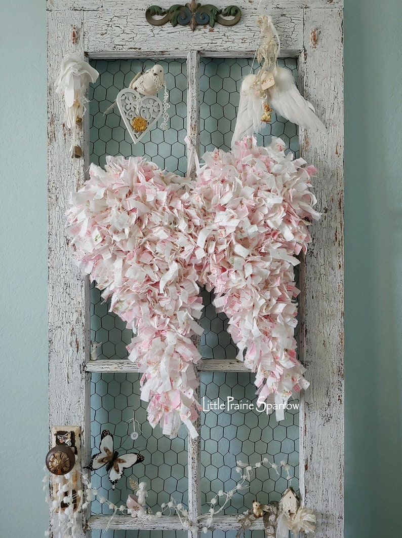 Pink Tattered Rag Fabric Wire Wings Wedding Prop Brides image 0