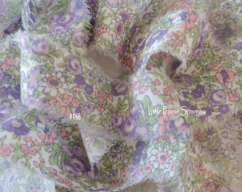 Hand Torn Lavender Pink Floral Print Frayed Fabric Ribbon for Journal, Scrapbook, Sewing, Shabby Chic Accent, Country Cottage, Gift Bows