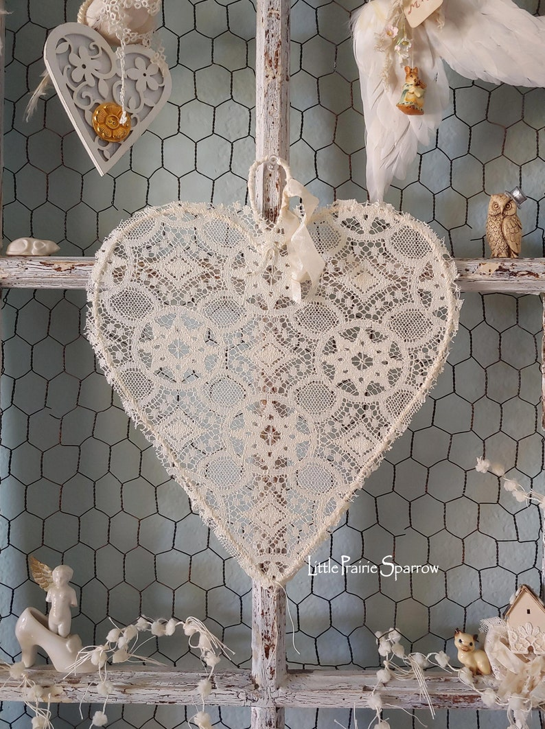 Heart Decor Wedding Prop Art Deco Lace Heart Wreath Bride image 0