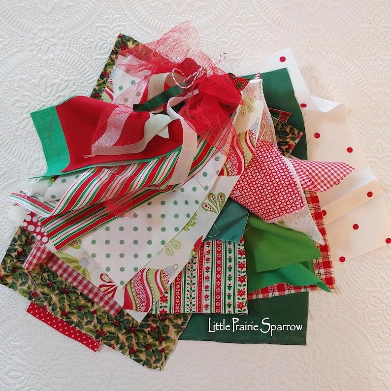 Christmas Fabric Bundle 20 Piece Kit Slow Stitching Fabric image 0