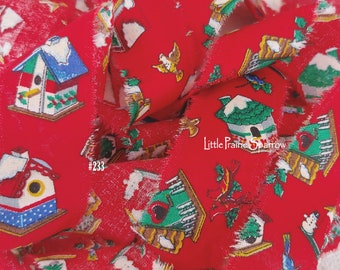 Hand Torn Christmas Red & Green Bird House Print Frayed Fabric Ribbon for Journal, Sewing, Holiday Gift Bow, Wreath Accent Bow, Tree Garland