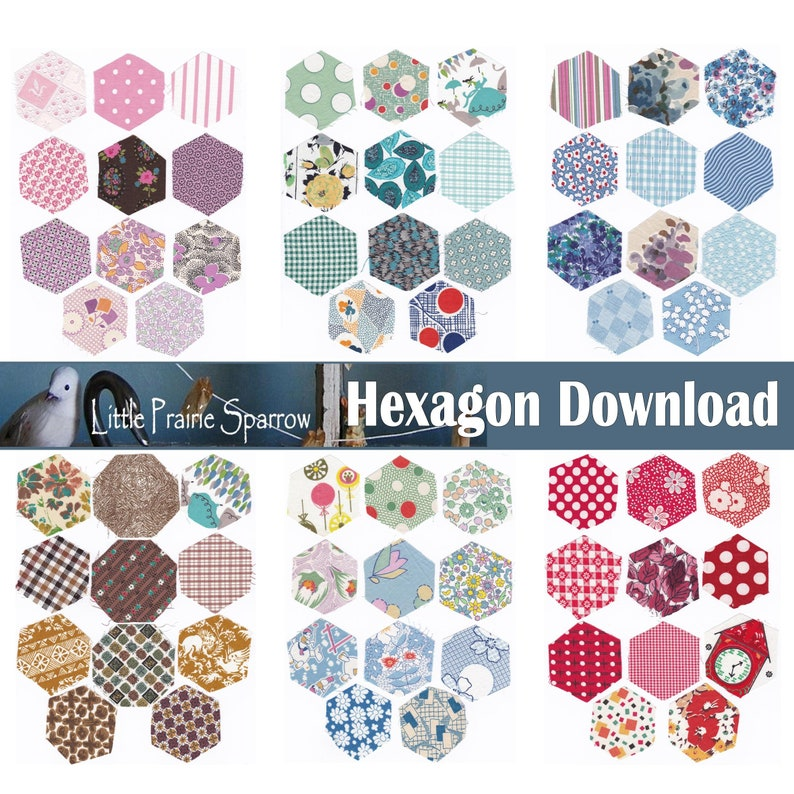 Vintage Hexagon Digital Download Printable Collage Sheets image 0