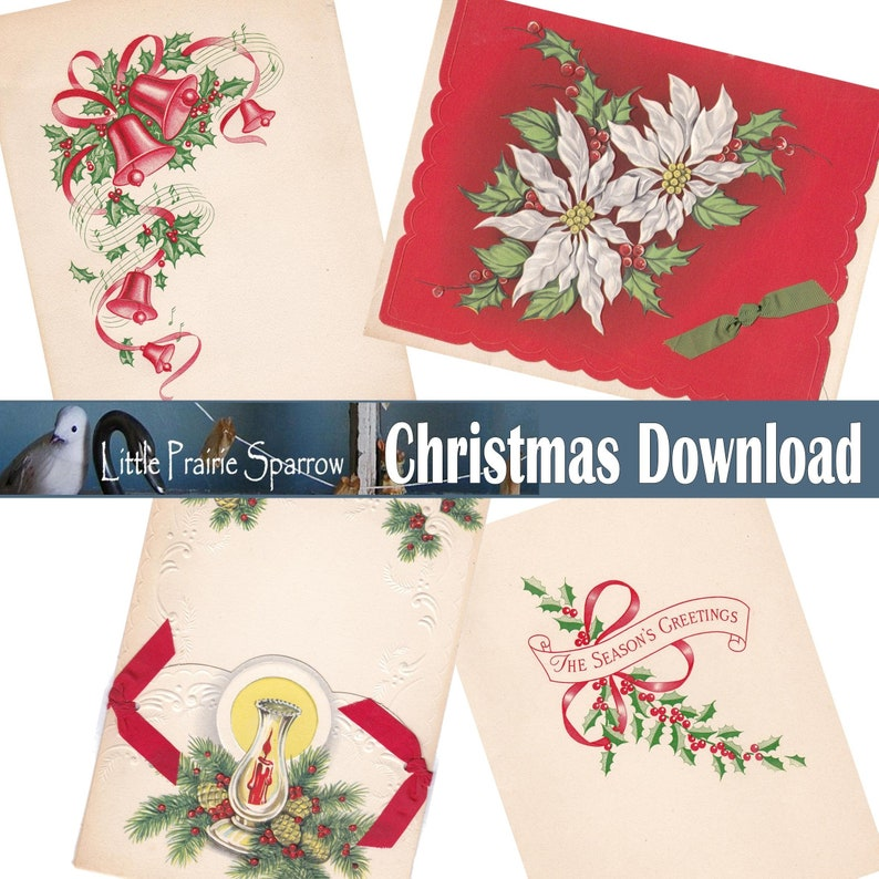 Vintage Christmas Images and Greetings Digital Download image 0