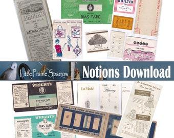 Vintage Sewing Notions Digital Download, Printable Sewing Notion Ephemera Collage Sheets, Junk Journal, Tags, Scrapbooking, Embellishments