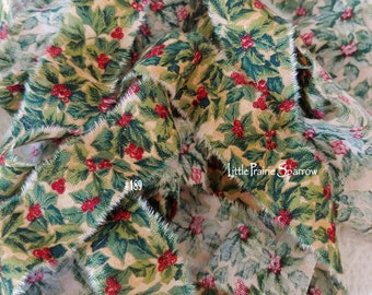 Hand Torn Christmas Holly Red & Green Print Frayed Fabric Ribbon for Journal, Sewing, Holiday Gift Bows, Wreath Accent Bow, Tree Garland