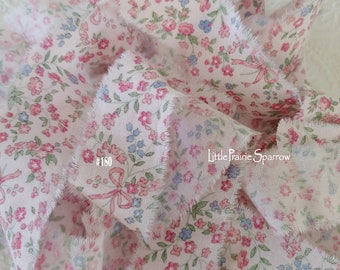 Hand Torn Pale Pink Floral Print Frayed Fabric Ribbon for Journal, Scrapbook, Shabby Chic Cottage Bows, Liberty & Rachel Ashwell Styles