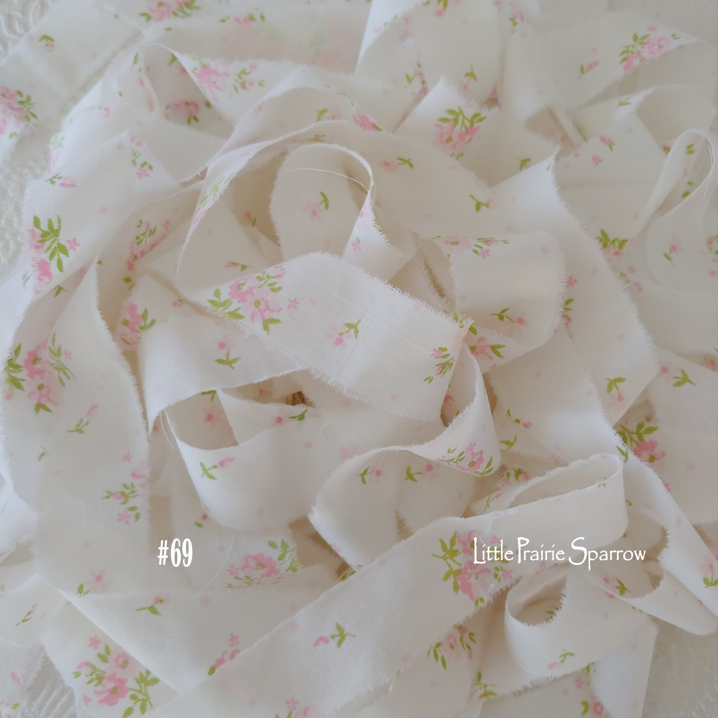 Frayed Dusty Pink Fabric Scrapbook Journal Hand Torn Pink Dot Fabric Ribbon Gift Bows OOP Daisy Kingdom Baby Cheetah Print Doll Making
