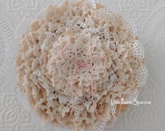 Vintage Doily Bundle, 15 Piece Crochet Doilies Lot Set, Journal & Scrapbook Embellishment, Slow Stitching, Shabby Chic Decor, Wedding Accent