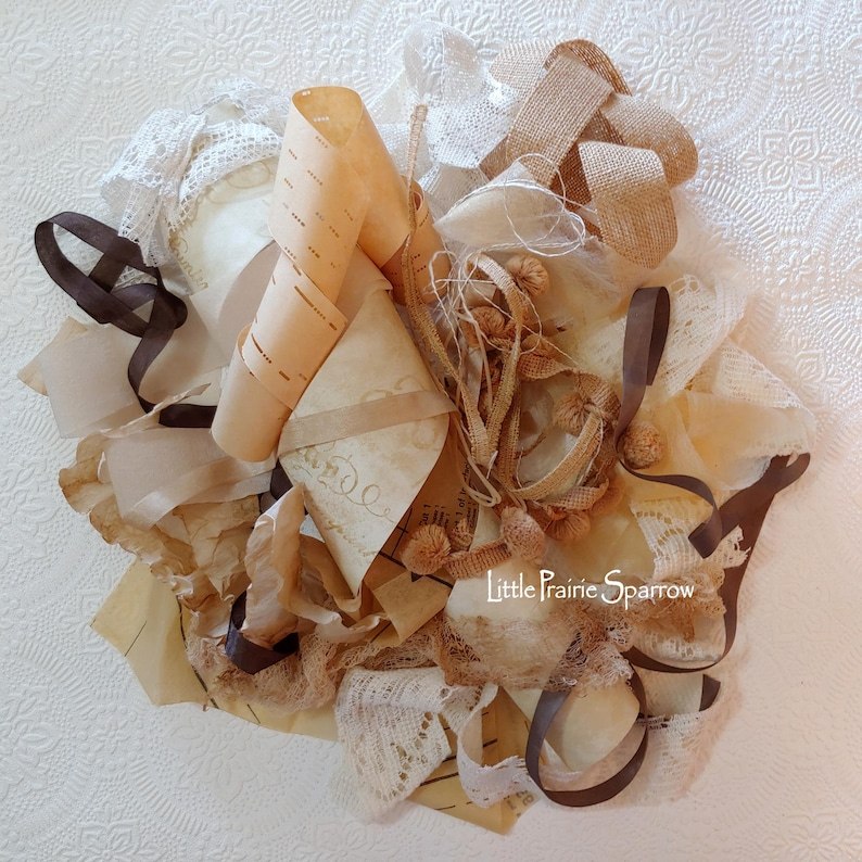 Coffee Dyed Paper Fabric Lace Ribbon Trim Bundle 18 Piece image 0