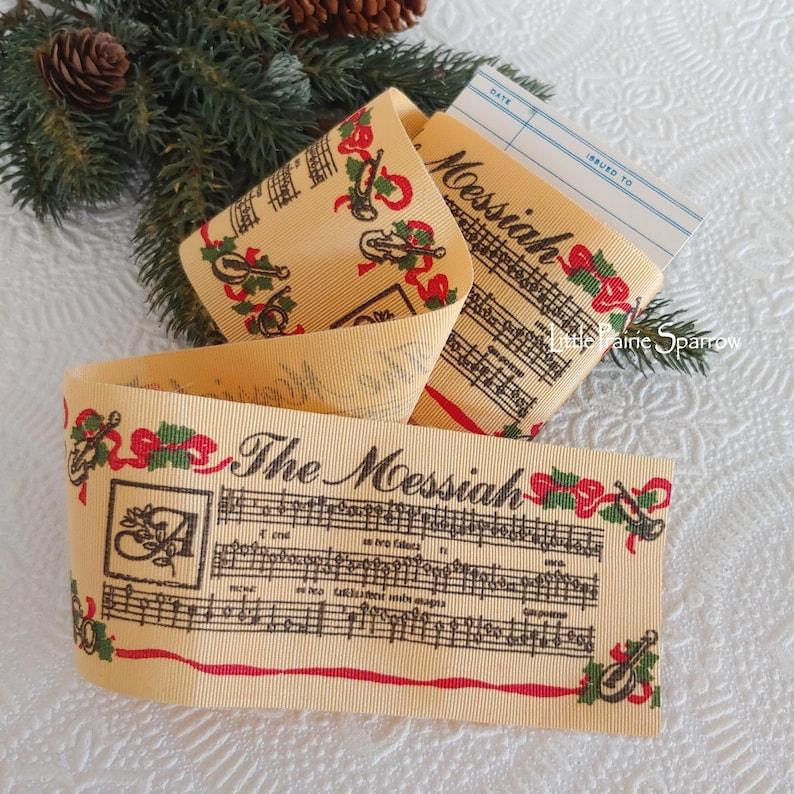 Christmas Ribbon The Messiah Music Notes Printed Grosgrain image 0