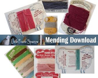 Vintage Mending Thread Digital Download, Printable Sewing Notion Ephemera Collage Sheets, Junk Journal, Tags, Scrapbooking, Embellishments